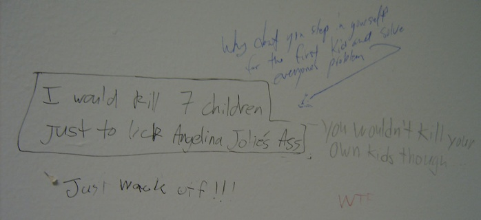 a conversation about angelina jolies ass taken on june 9 in the mu bathroom closest to computer lab