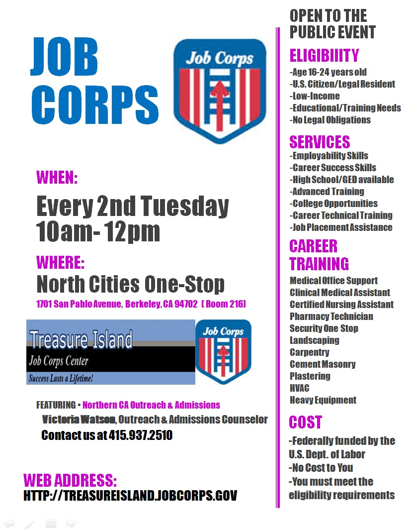Job Corps - Oakland - LocalWiki on job corps resume, job corps letterhead, job recruitment brochures, job club brochure, marine corps brochure, job corps stickers, job corps banner, job advertisement brochure, job corps poster,