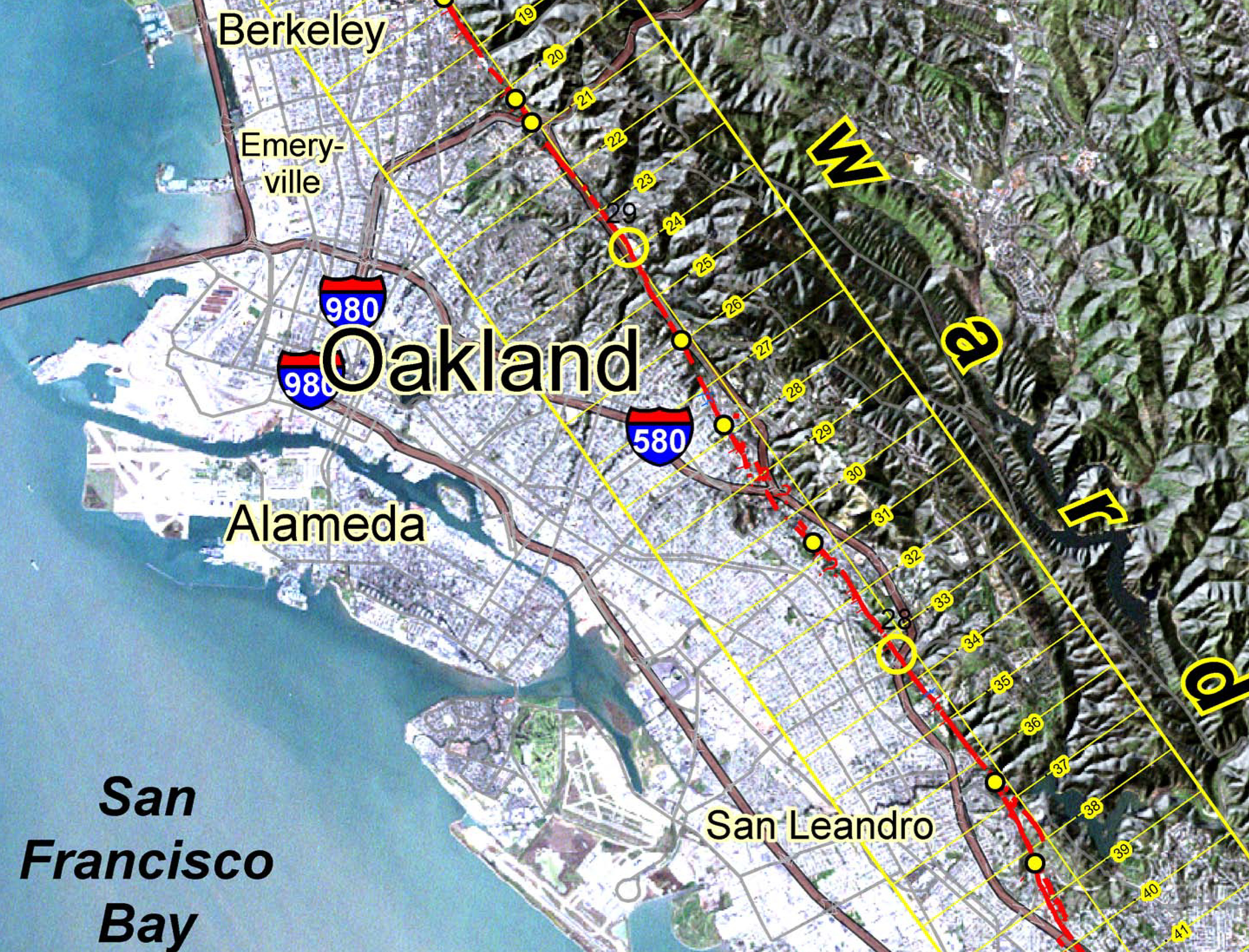 Hayward Fault Map Hayward Fault   Oakland   LocalWiki Hayward Fault Map