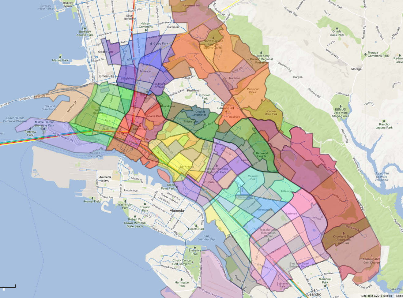 Oakland Neighborhood Map Neighborhoods   Oakland   LocalWiki